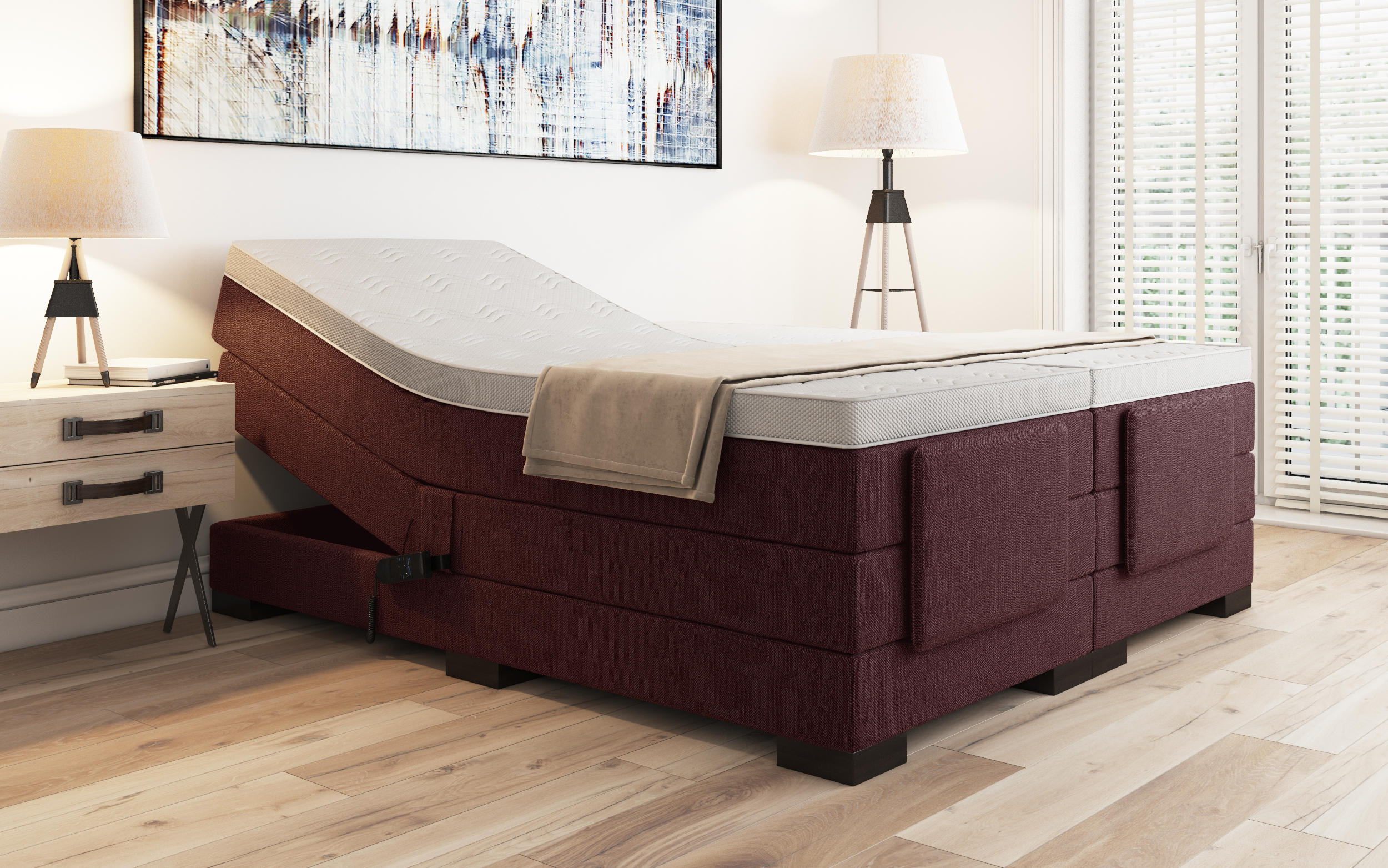 boxspringbett vidalia 140x220 cm bordeaux. Black Bedroom Furniture Sets. Home Design Ideas