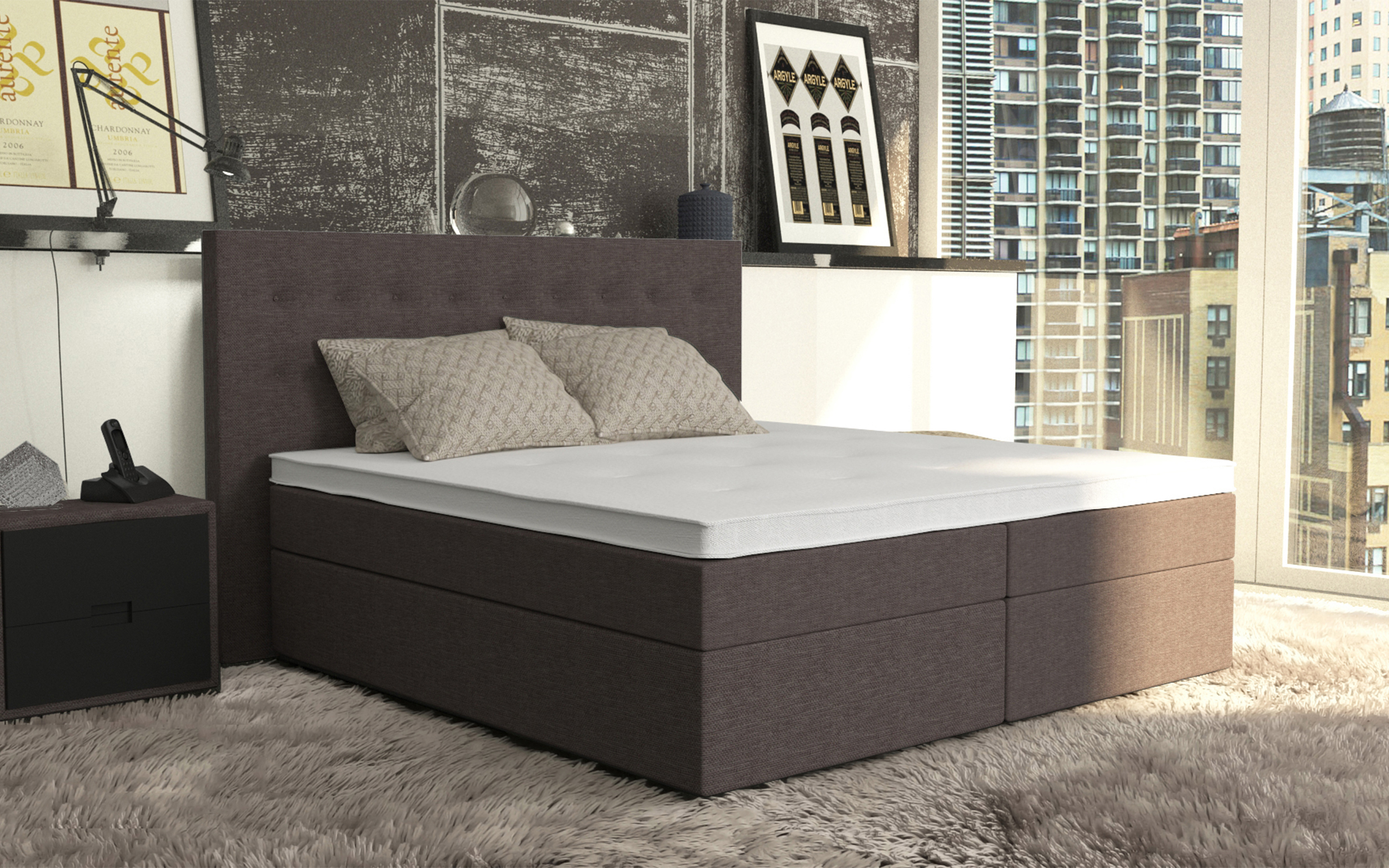 boxspringbett ciara 140x220 cm cappuccino. Black Bedroom Furniture Sets. Home Design Ideas