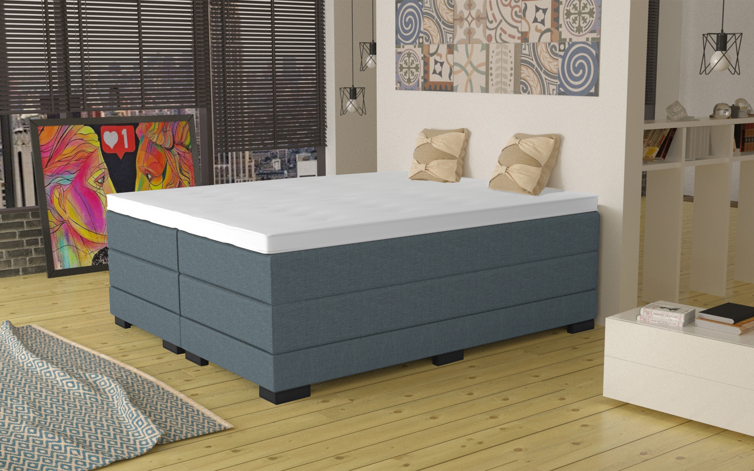 boxspringbett elkins 80x220 cm blau. Black Bedroom Furniture Sets. Home Design Ideas