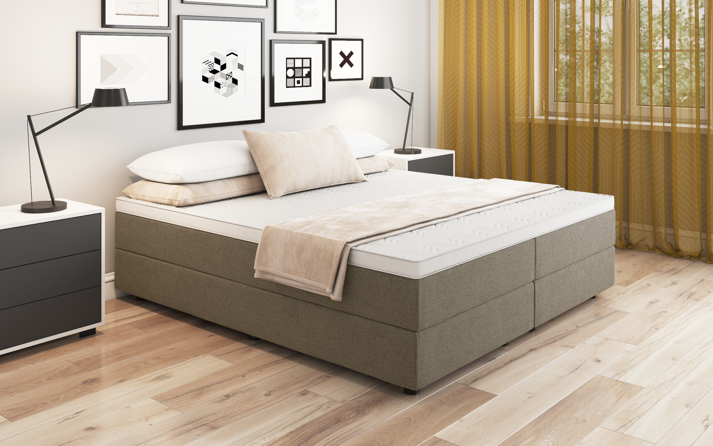 boxspringbett debora 80x220 cm cappuccino. Black Bedroom Furniture Sets. Home Design Ideas