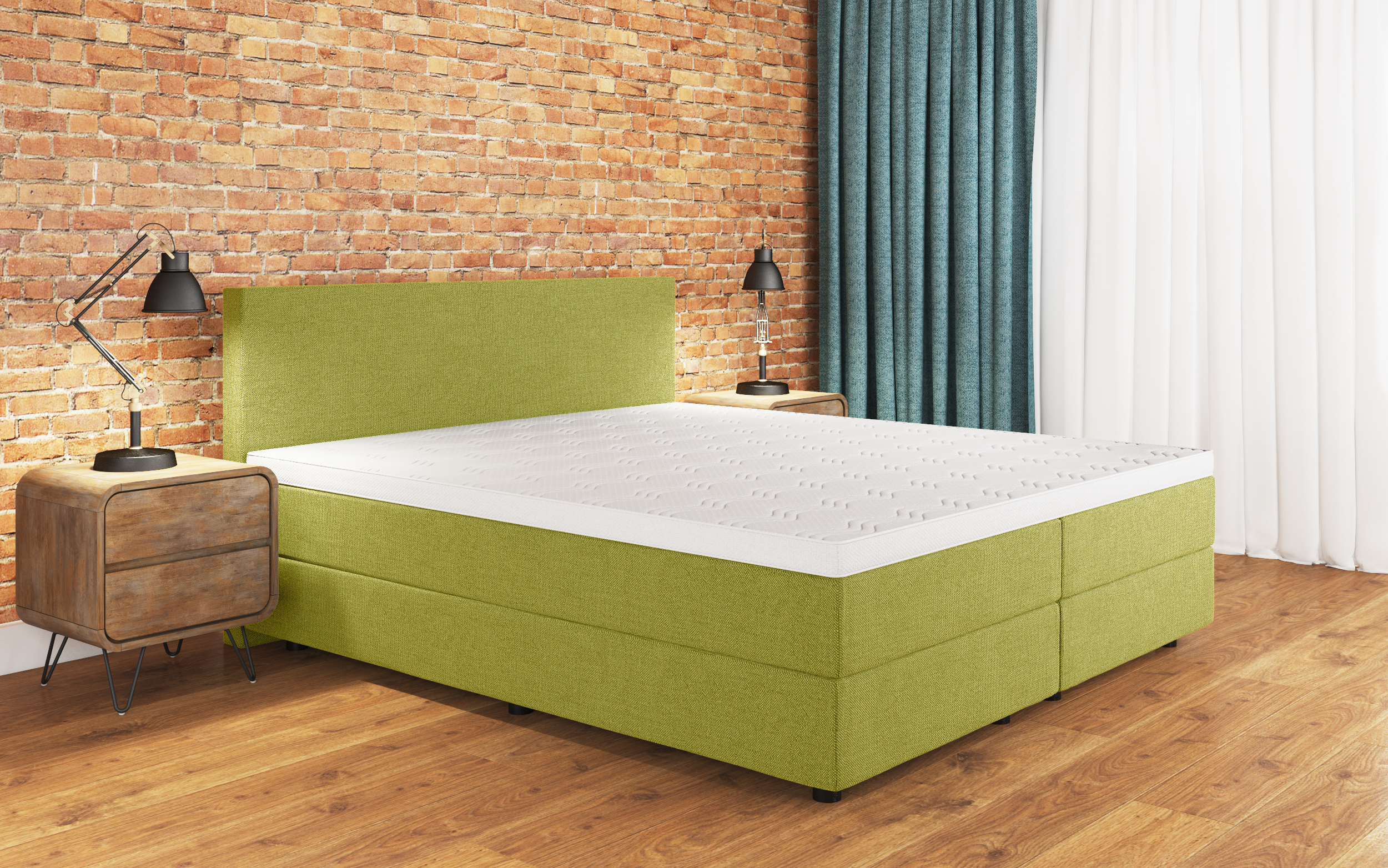 boxspringbett sharon 140x220 cm lime. Black Bedroom Furniture Sets. Home Design Ideas